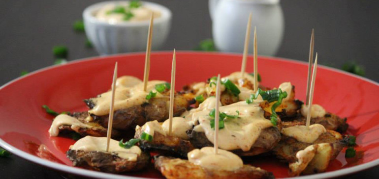 Grilled Cajun Potatoes with Mayonnaise sauce