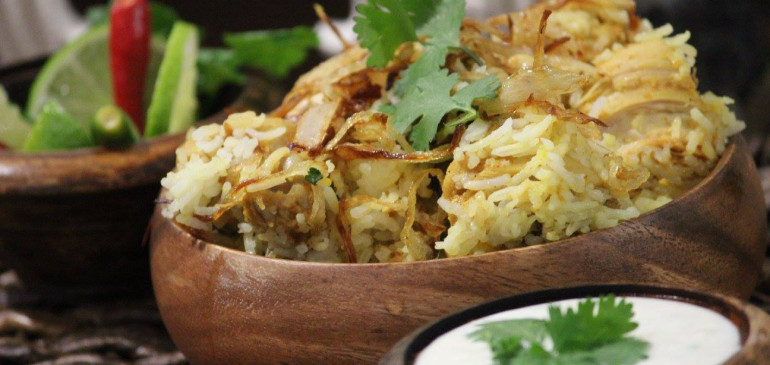 Mughlai chicken biryani with dal raita