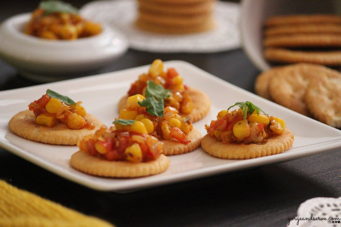 Monacco corn canapes gorge serve for Breakfast canape