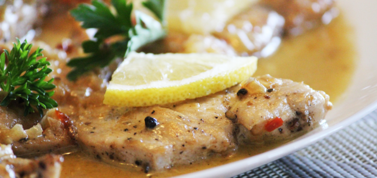 Chicken with Lemon garlic cream sauce